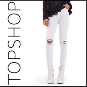 Topshop Moto Jamie White 28x32 High Rise Jean